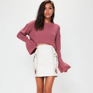 Missguided Flared Sleeve Knitted Cropped Jumper